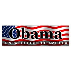 Obama Waving Flag Bumper Sticker