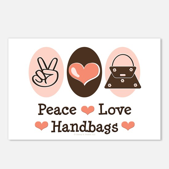 Peace Love Handbags Purse Postcards (Package of 8)