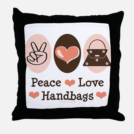 Peace Love Handbags Purse Throw Pillow