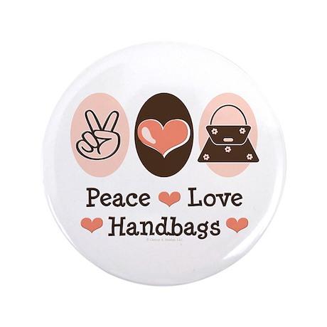 "Peace Love Handbags Purse 3.5"" Button (100 pack)"
