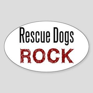 Rescue Dogs Rock Oval Sticker