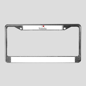I Heart Windsurfing License Plate Frame