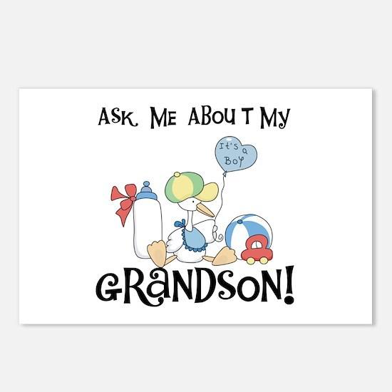 Stork New Grandson Postcards (Package of 8)
