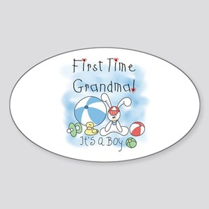 Grandma Baby Boy Oval Sticker
