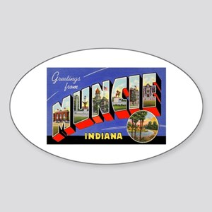 Muncie Indiana Greetings Oval Sticker