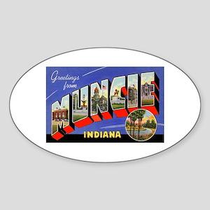 Muncie Indiana Greetings Oval Sticker