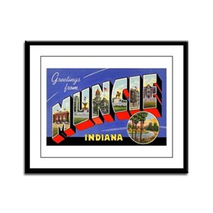 Muncie Indiana Greetings Framed Panel Print