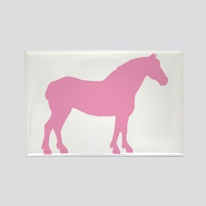 Pink Draft Horse Rectangle Magnet