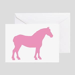 Pink Draft Horse Greeting Card
