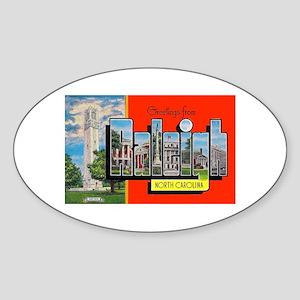Raleigh North Carolina Greetings Oval Sticker