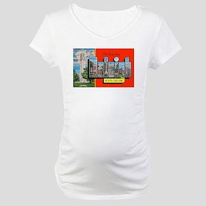 Raleigh North Carolina Greetings Maternity T-Shirt