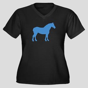 Blue Draft Horse Women's Plus Size V-Neck Dark T-S