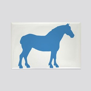 Blue Draft Horse Rectangle Magnet