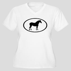 Draft Horse Oval Women's Plus Size V-Neck T-Shirt