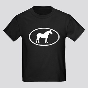 Draft Horse Oval Kids Dark T-Shirt