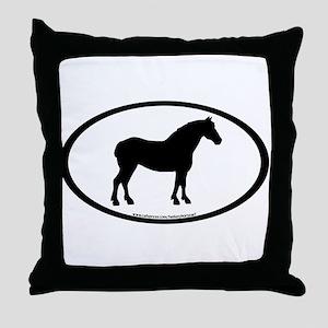 Draft Horse Oval Throw Pillow
