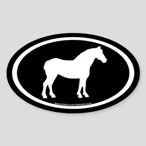 Draft Horse Oval (wh/blk) Oval Sticker