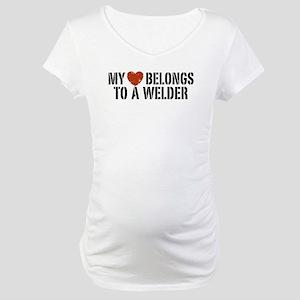 My Heart Belongs to a Welder Maternity T-Shirt