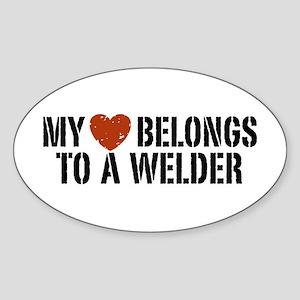 My Heart Belongs to a Welder Oval Sticker