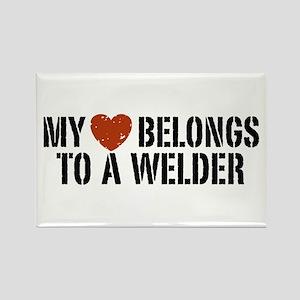 My Heart Belongs to a Welder Rectangle Magnet