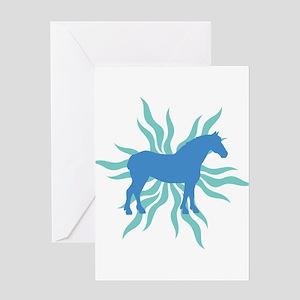 Blue Star Draft Horse Greeting Card