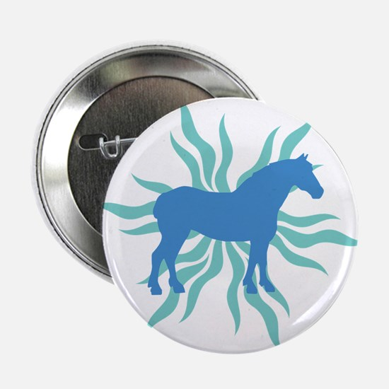 "Blue Star Draft Horse 2.25"" Button"