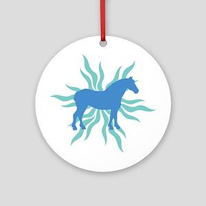 Blue Star Draft Horse Ornament (Round)