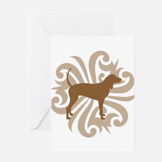 Brown & Tan Coonhound Greeting Card