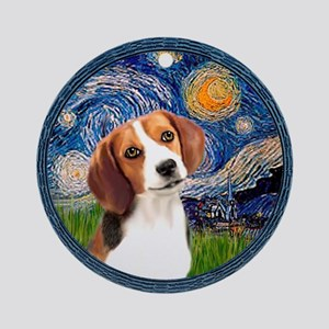 Starry Night Beagle #1 Ornament (Round)