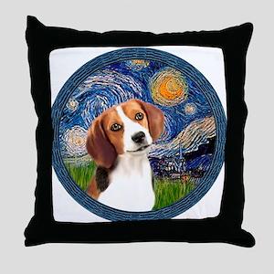 Starry Night Beagle #1 Throw Pillow