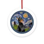 Starry Night Doberman (#1) Ornament (Round)