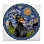 Starry Night Doberman (#1) Tile Coaster