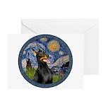 Starry Night Doberman (#1) Greeting Cards (Pk of 2