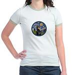 Starry Night Doberman (#1) Jr. Ringer T-Shirt