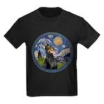 Starry Night Doberman (#1) Kids Dark T-Shirt