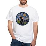 Starry Night Doberman (#1) White T-Shirt