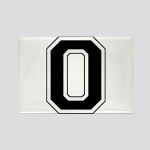 Varsity Font Number 0 Black Rectangle Magnet