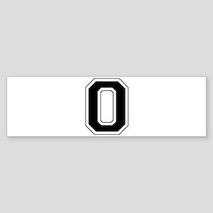 Varsity Font Number 0 Black Bumper Sticker