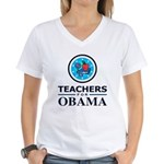 Teachers for Obama Women's V-Neck T-Shirt