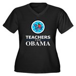 Teachers for Obama Women's Plus Size V-Neck Dark T