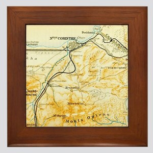Vintage Map of Corinth Greece (1894) Framed Tile