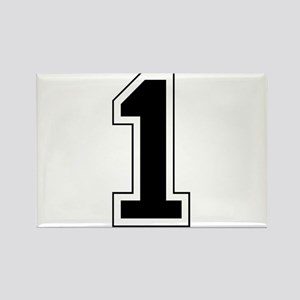 Varsity Font Number 1 Black Rectangle Magnet
