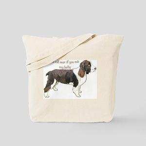 Springer spaniel belly rub Tote Bag