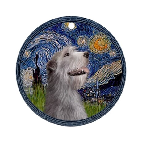 Starry Irish Wolfhound Ornament (Round)
