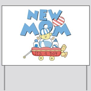 Red Wagon New Mom Yard Sign