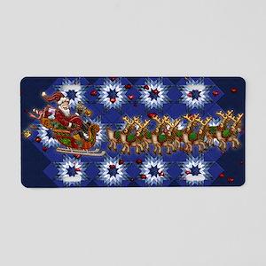 Harvest Moons Folk Santa Aluminum License Plate