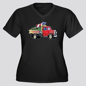 4th of July Vintage Truck Women's Plus Size V-Neck