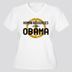 Human Resoueces for Obama Women's Plus Size V-Neck