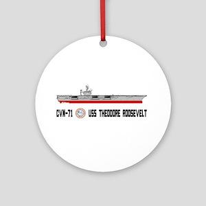 USS Theodore Roosevelt CVN-71 Ornament (Round)