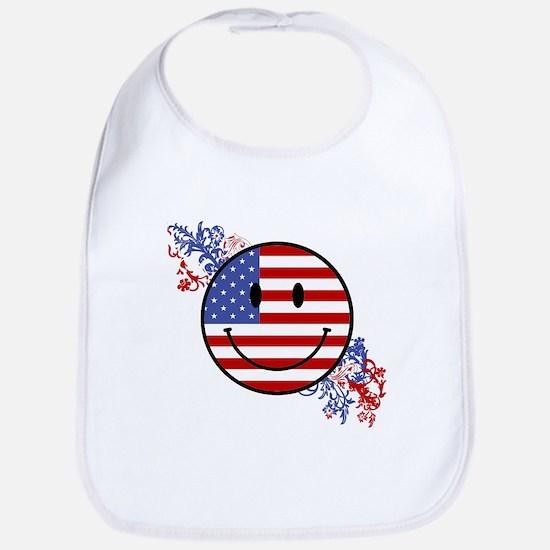 Fourth Of July Smiley Bib
